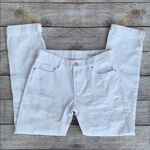 BLANKNYC White Distressed Straight Jeans